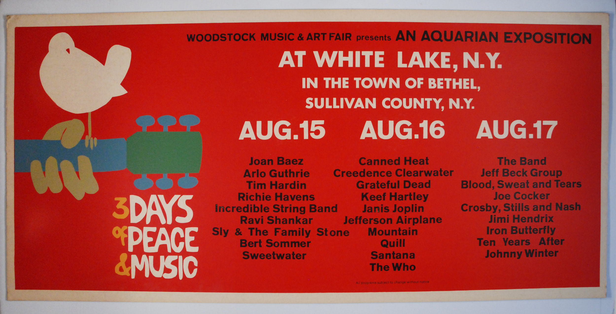 Authentic Woodstock posters are highly coveted and enjoy demand from people OUTSIDE our hobby, as well as within. The poster above is extremely rare and was created for display on the side of a bus. Many experts expect values to increase dramatically starting next year.