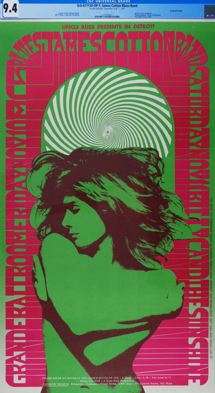 "The  Famous ""Vanessa"" concert poster . Grande Ballroom, James Cotton / MC-5 Nov. 10+11, 1967. Many collectors believe it to be the best of the best."