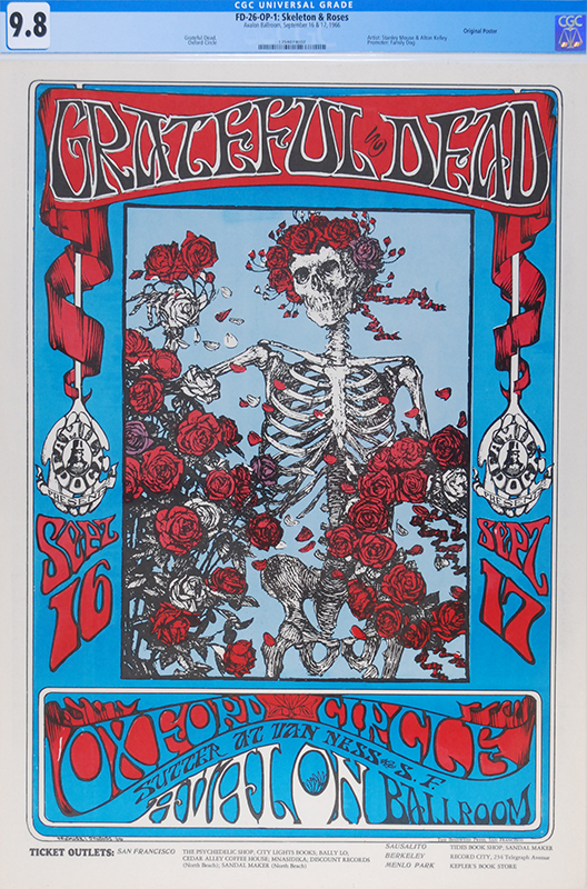 This Grateful Dead Skeleton and Roses concert poster sold for a record price of $56,400.