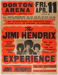 A $15,000 reward is offered for this Jim Hendrix Dorton Arena concert poster.
