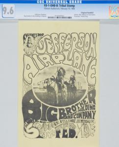 This FD-1 Tribal Stomp Fillmore Auditorium 2/19/66 Concert Handbill is the finest CGC graded specimen to appear at auction
