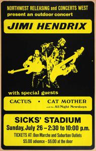 The first Jimi Hendrix Siskcs Stadium 7/26/70 concert poster to appear at public auction