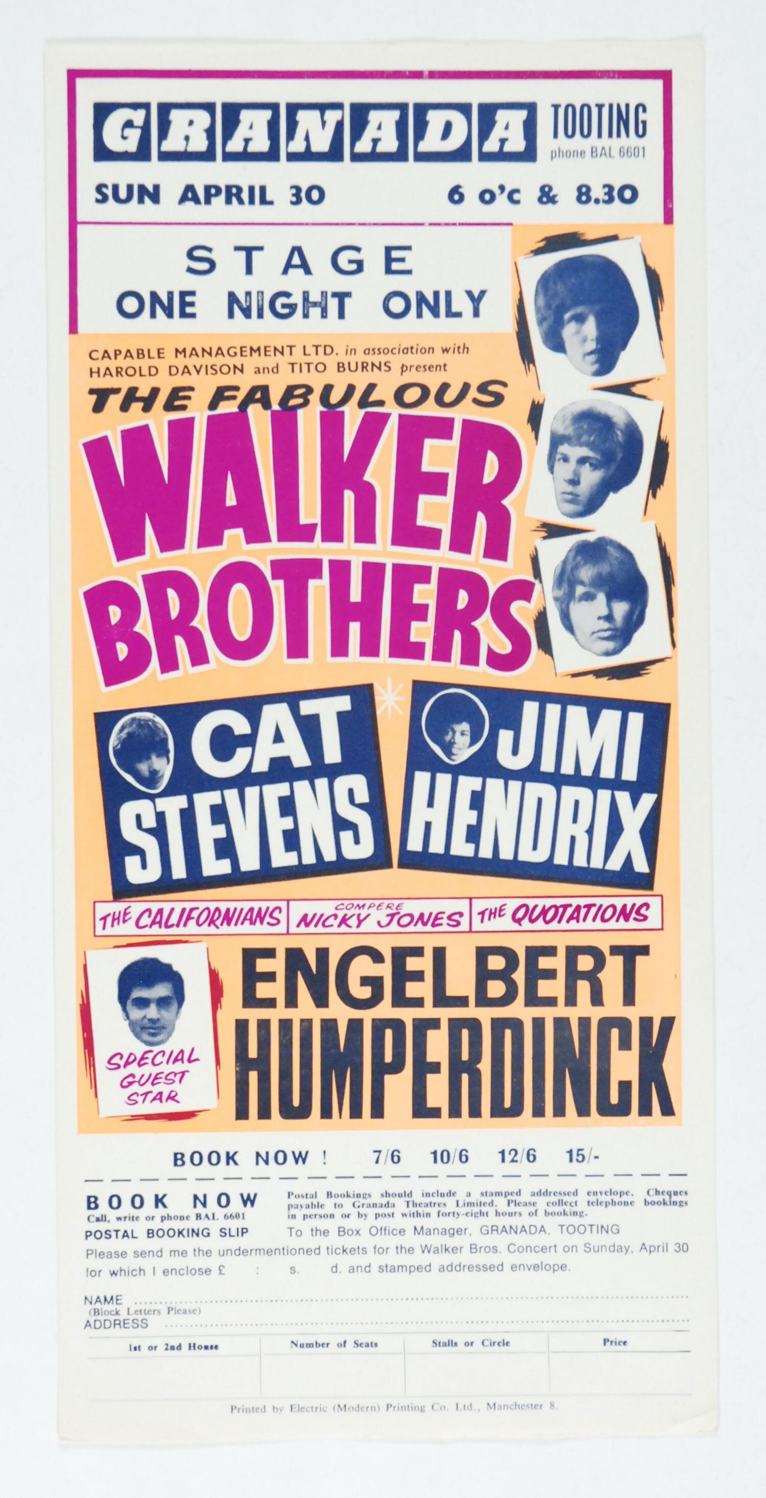 Jimi Hendrix, Walker Brothers, Cat Stevens Odeon Blackpool Theatre