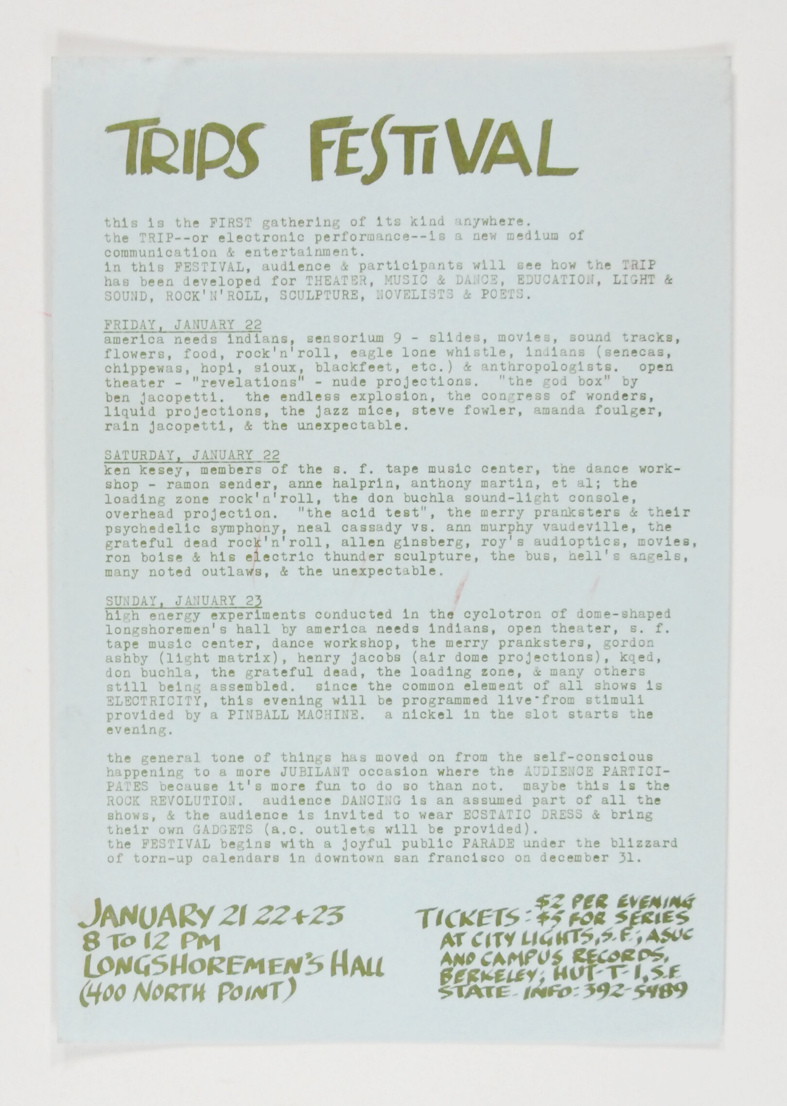Trips Festival Longshoreman's Hall 1966 Handbill