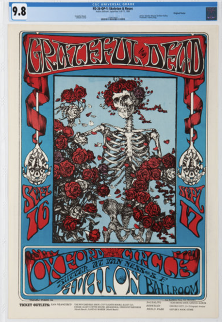 This Grateful Dead FD-26 concert poster graded 9.8 by CGC realized a record $118,750 on 11/16/19