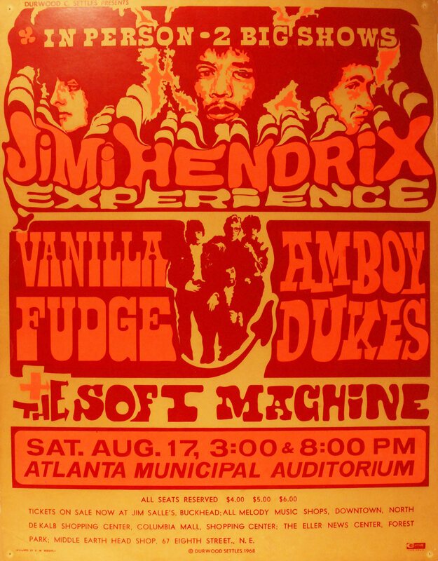An $8000 Reward Is Offered For This Jimi Hendrix 8/17/68 Atlanta Municipal Auditorium Concert Poster
