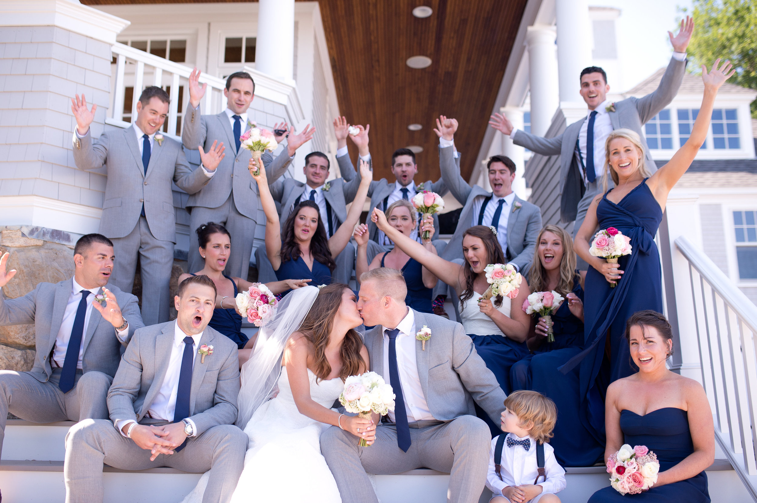 This spirited group was incredibly fun to work with. Kara and Pat's sixteen person wedding party knew how to have a good time!