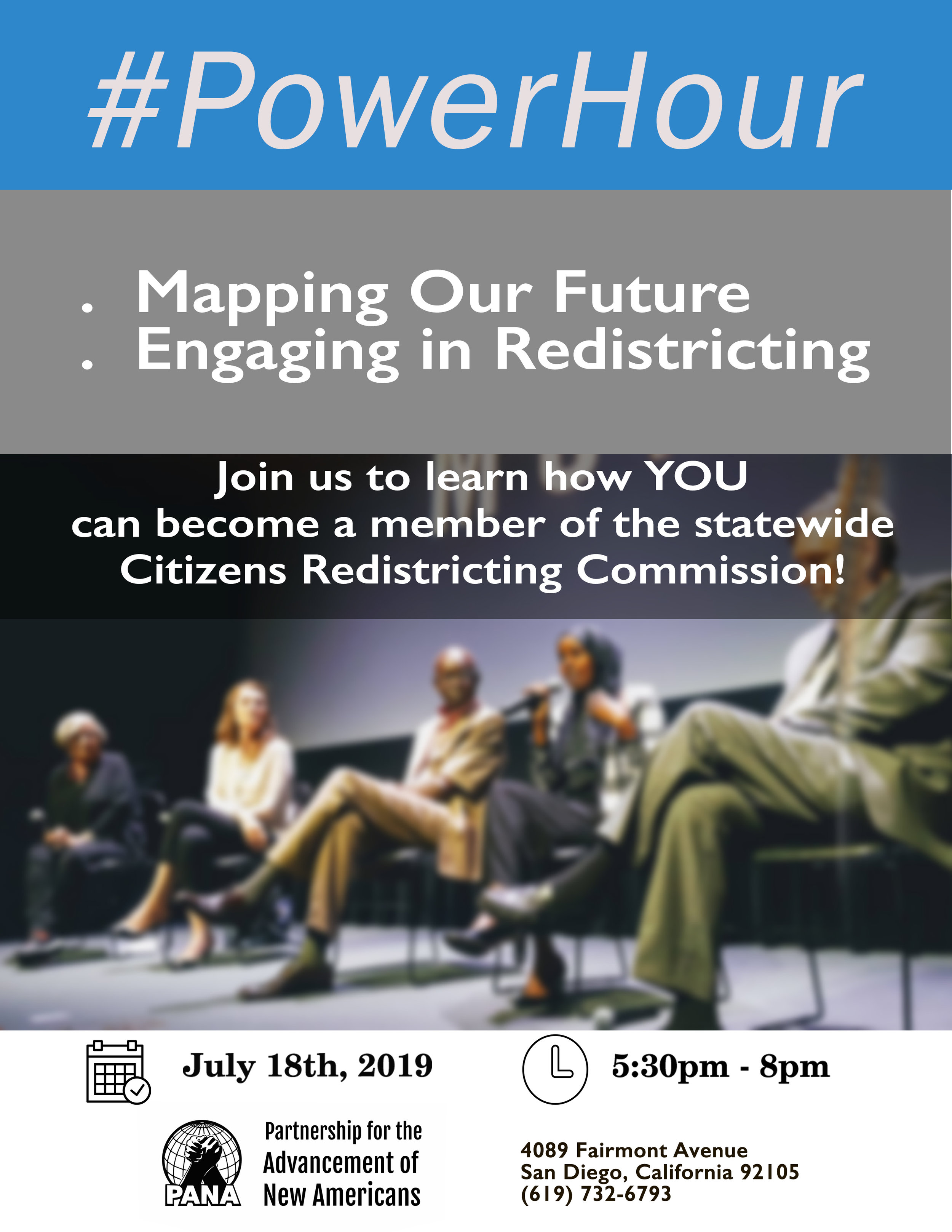 The focus of this conversation will be the importance of redistricting, the role of the Citizens Redistricting Commission, and the opportunity for members of our communities to serve on the Commission - We have the incredible privilege of hosting Kathay Feng, the architect of California's Citizens Redistricting Commission, and Dr. Gil Ontai, a member of the first Citizens Redistricting Commission that drew state's first independent maps in 2011. A representative from the State Auditor's Office, which oversees the Commission selection process, will be present to go over the application process with interested community members.At PANA, we are engaging in daily conversations about the upcoming 2020 Census and ensuring a complete count of everyone in our community. We know so much is at stake, and we want to make sure our efforts and energy around the Census translate into community engagement in redistricting and mapping a fair and inclusive future! Ensuring representation from our diverse communities on the Citizens Redistricting Commission is the critical first step in that process.