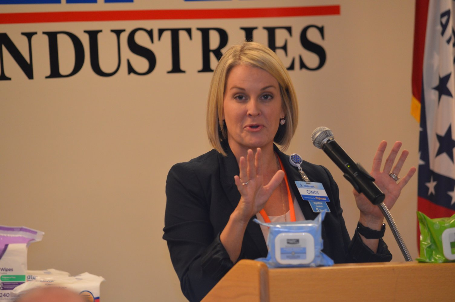 Cindi Marsiglio, vice president of U.S. manufacturing for Walmart, talked at today's ceremony about the importance of Rockline Industries and its decision to bring additional production back to the U.S.