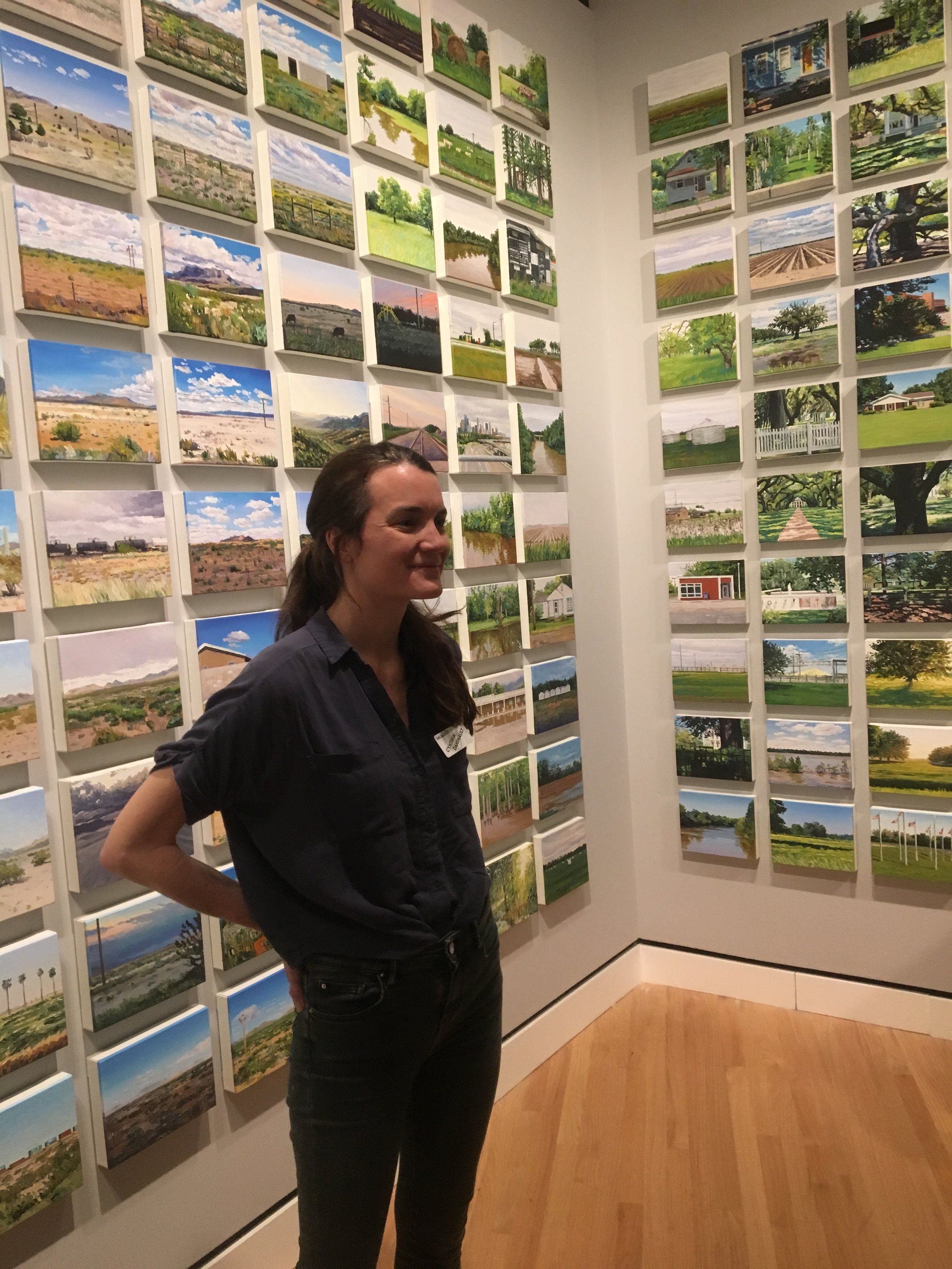 """Baltimore's Cynthia Daignault talked Thursday about her 2014 trip in which she painted something she saw about every 25 miles. Called  Light Atlas , the 360 small paintings are part of """"The Beyond: Georgia O'Keeffe and Contemporary Art""""at Crystal Bridges Museum of American Art in Bentonville."""