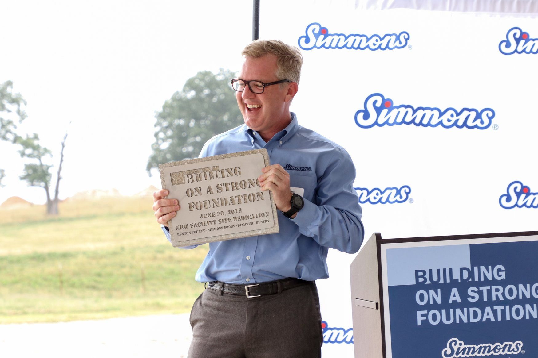 Simmons Food CEO Todd Simmons spoke during a June dedication ceremony at the company's new facility.