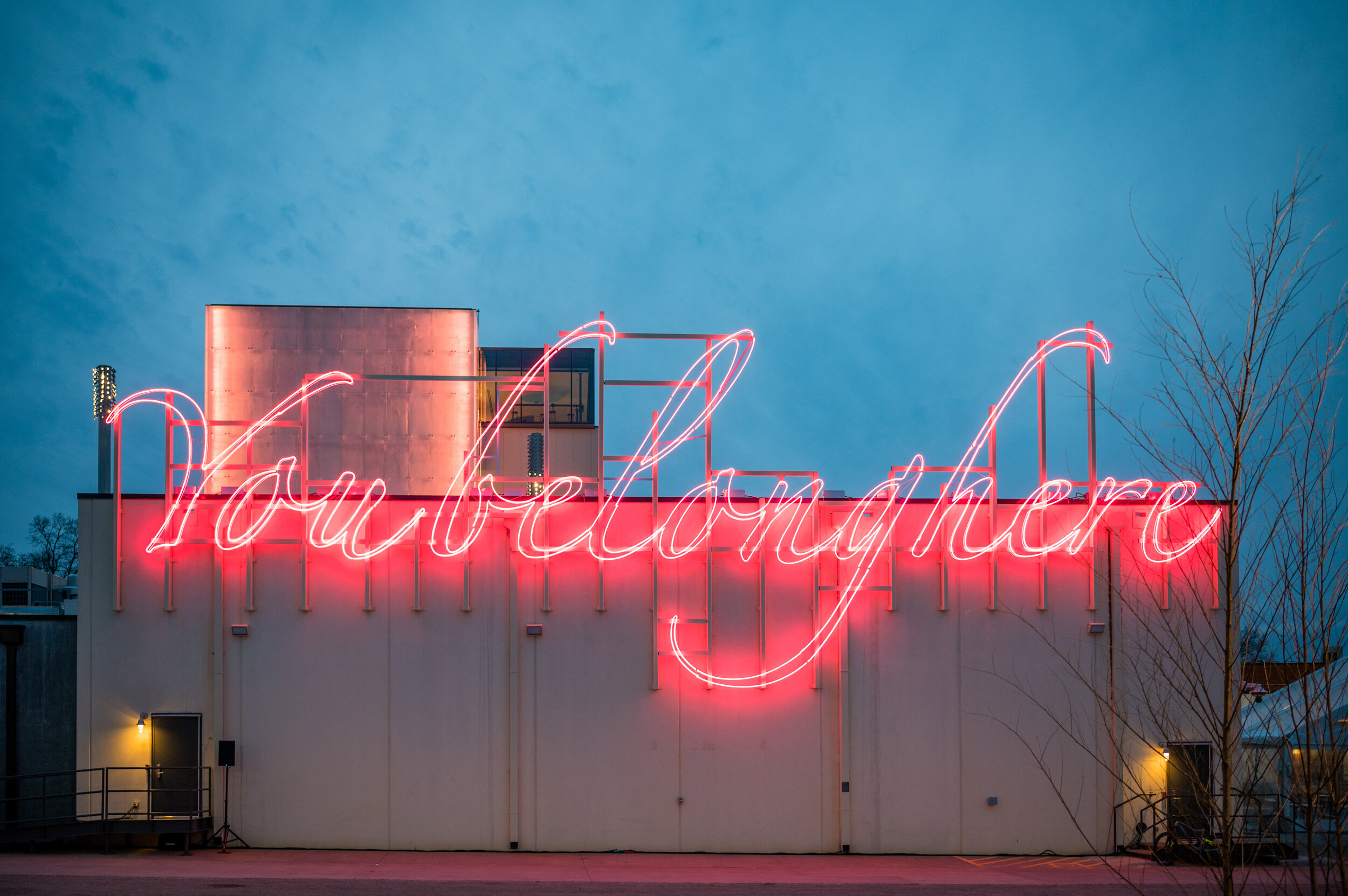 """""""You Belong Here"""" by artist Tavares Strachan, site-specific neon sculpture."""