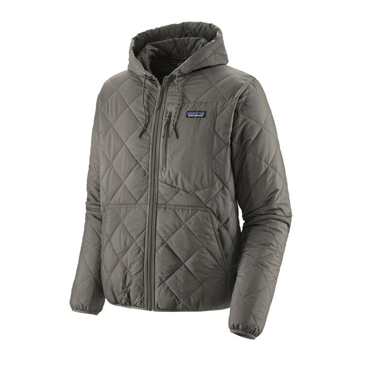 Diamond Quilted Hoodie in Grey