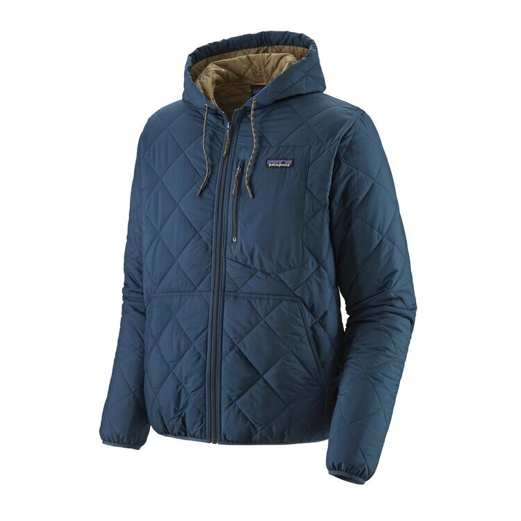 Diamond Quilted Hoodie in Blue