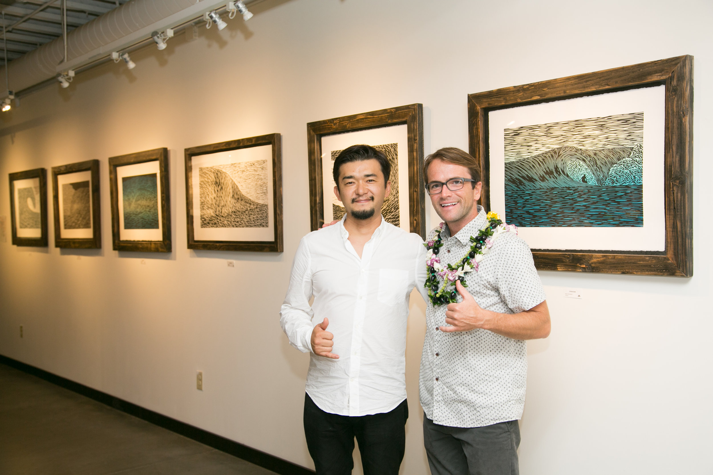 "Jun Yoshimura (left) and Steven Kean (right) at Mr. Kean's solo exhibition ""Surface Interface II"". 2016."