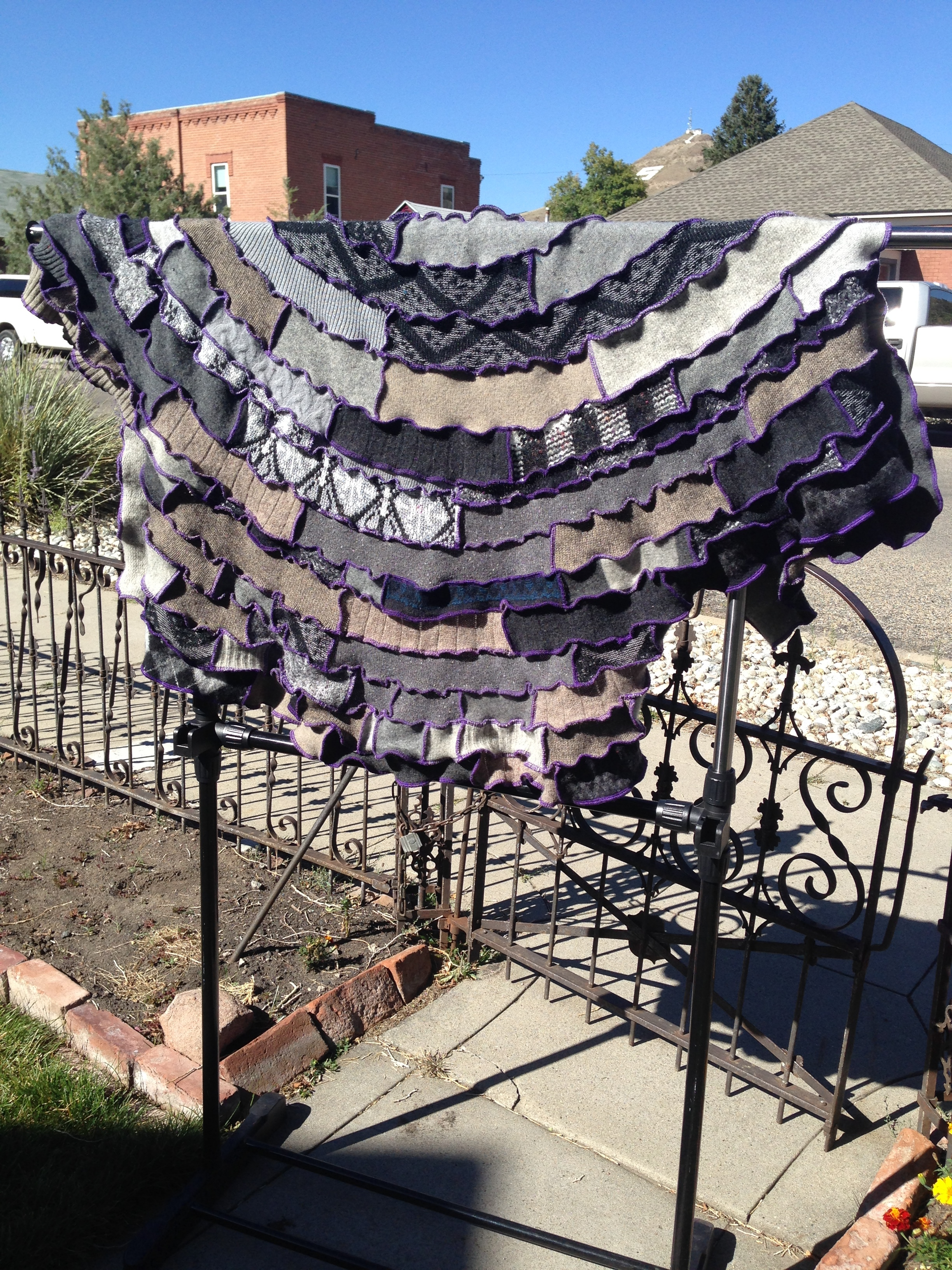 Shades of Grey and purple shawl