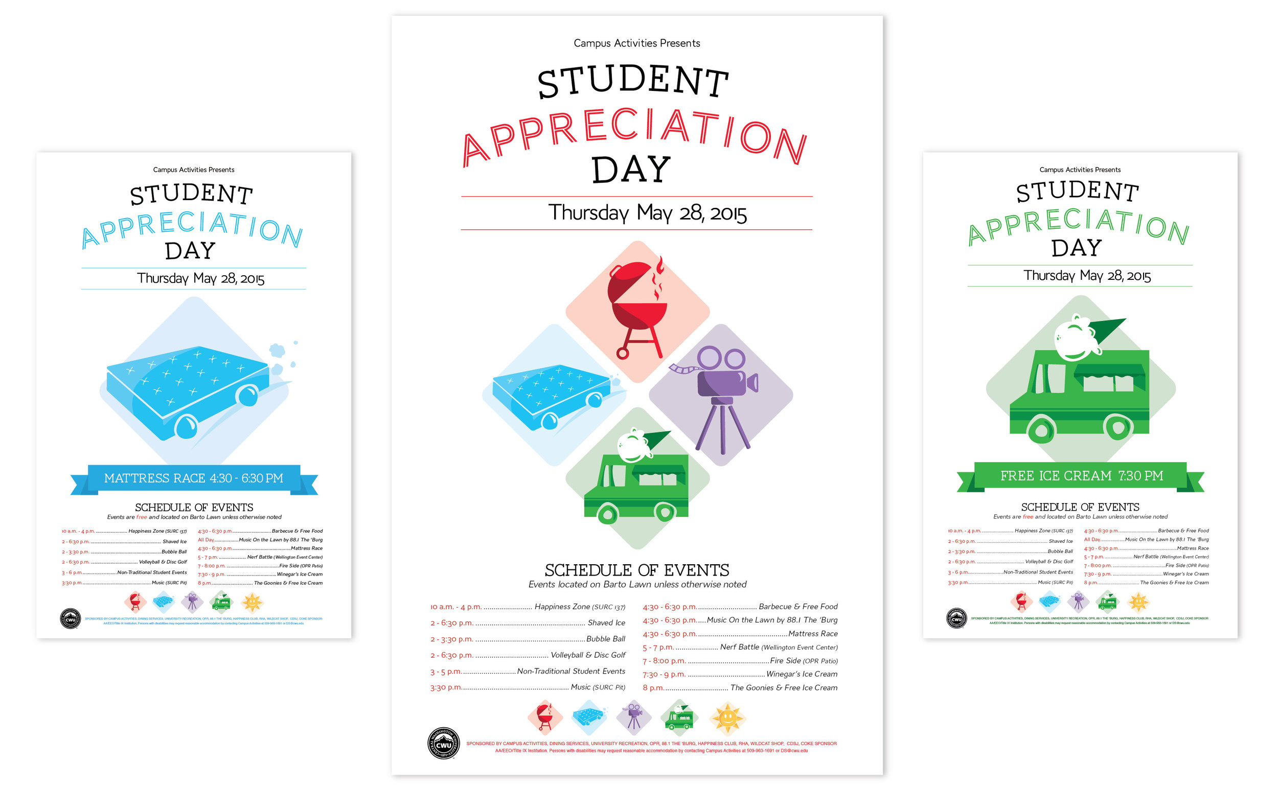 Awarded the '2015 Sarah Spurgeon Gallery Award in Graphic Design' for the Student Appreciation Day poster series.