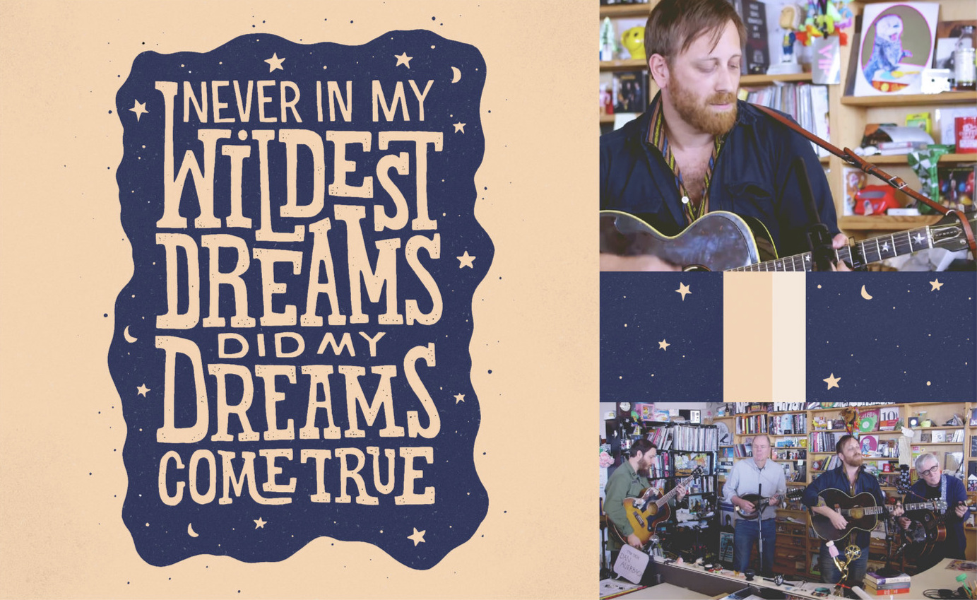 """Originally this piece was inspired by the KEXP version of """"Never In My Wildest Dreams"""" by Dan Auerbach (Easy Eye Sound Revue), but I checked out their NPR Tiny Desk session and was surprised how well that performance matched the art I had already illustrated based off of the KEXP video. Spooky! The stars, the blues, all of it coincidentally went together. A favorite song of mine from his new album 'Waiting On A Song' is """"Never In My Wildest Dreams"""", I feel very fortunate that I'm able to relate through the love I share with my partner."""