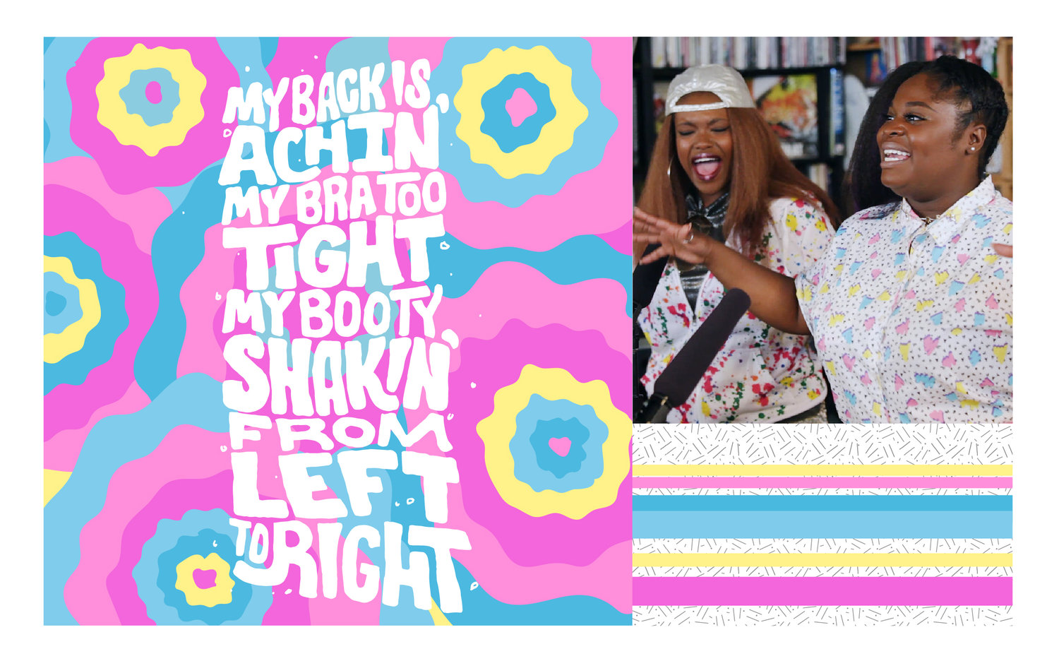 Lyrics from Tank And The Bangas' song 'Quick'. Images and color inspo screen grabbed from their celebratory performance as NPR'S 2017 Tiny Desk winners. Their storytelling, energy, and absolute love for music is amazing.