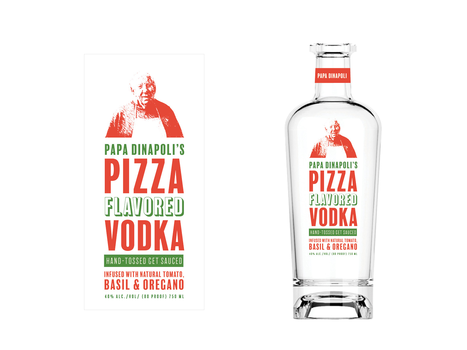 Unused concept for 'Papa Dinapoli's Pizza Flavored Vodka'. In memory of my old friend Al, I used a picture of him as 'Papa'. *Gravity Creative