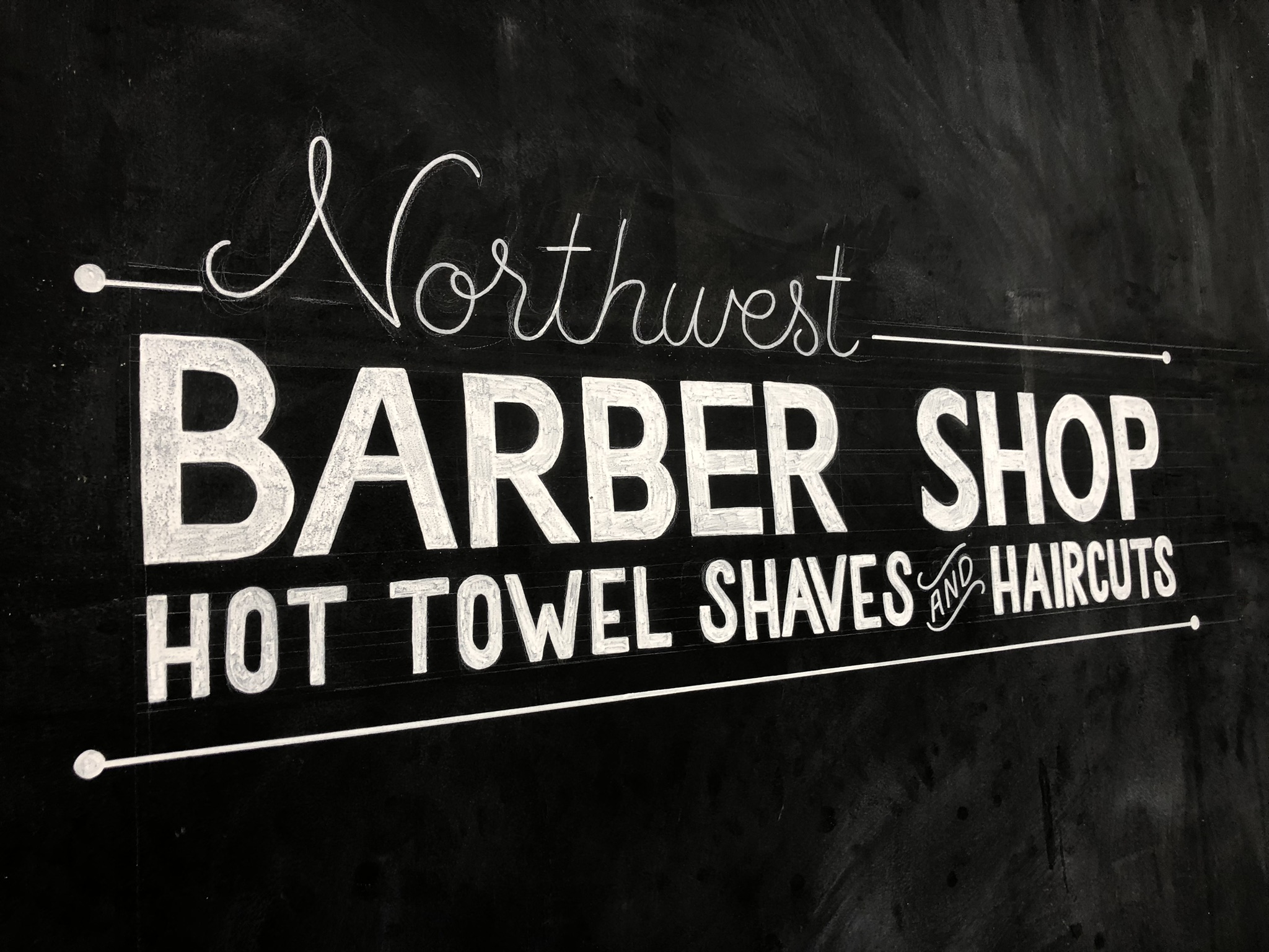 Hand-painted piece done for the Northwest Barber Shop located in Ellensburg, WA.