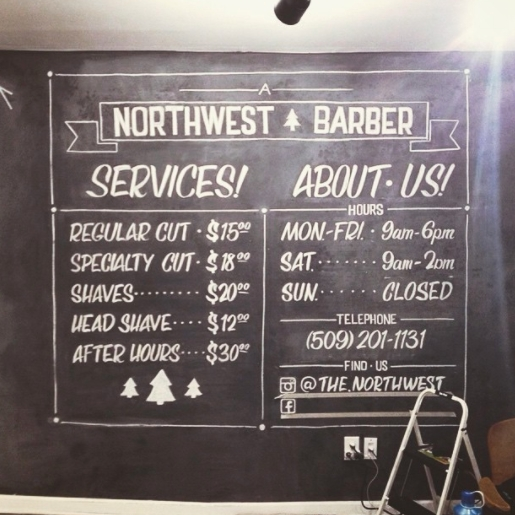 Wall-sized chalk menu for The Northwest Barber.