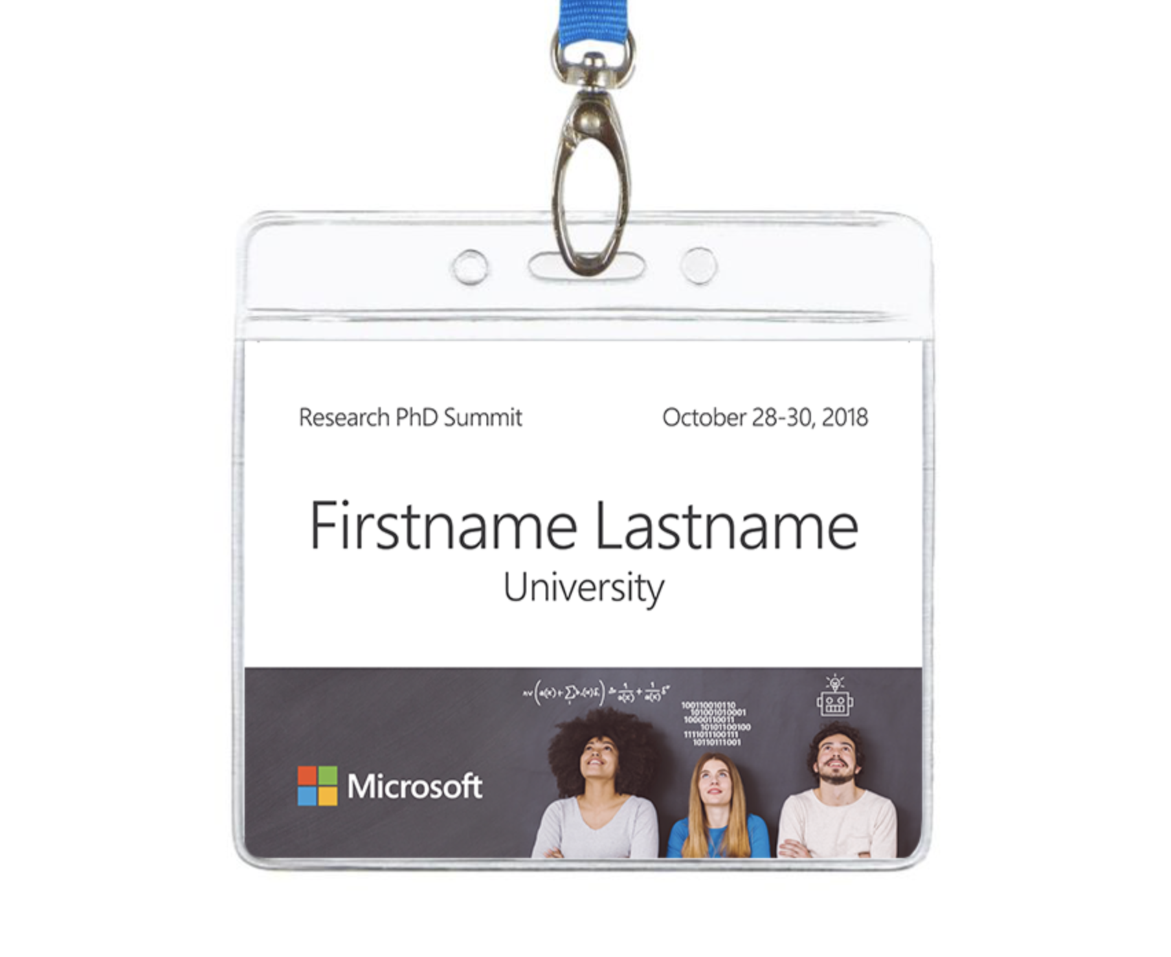 2018 PhD Summit Power Point name badge template.
