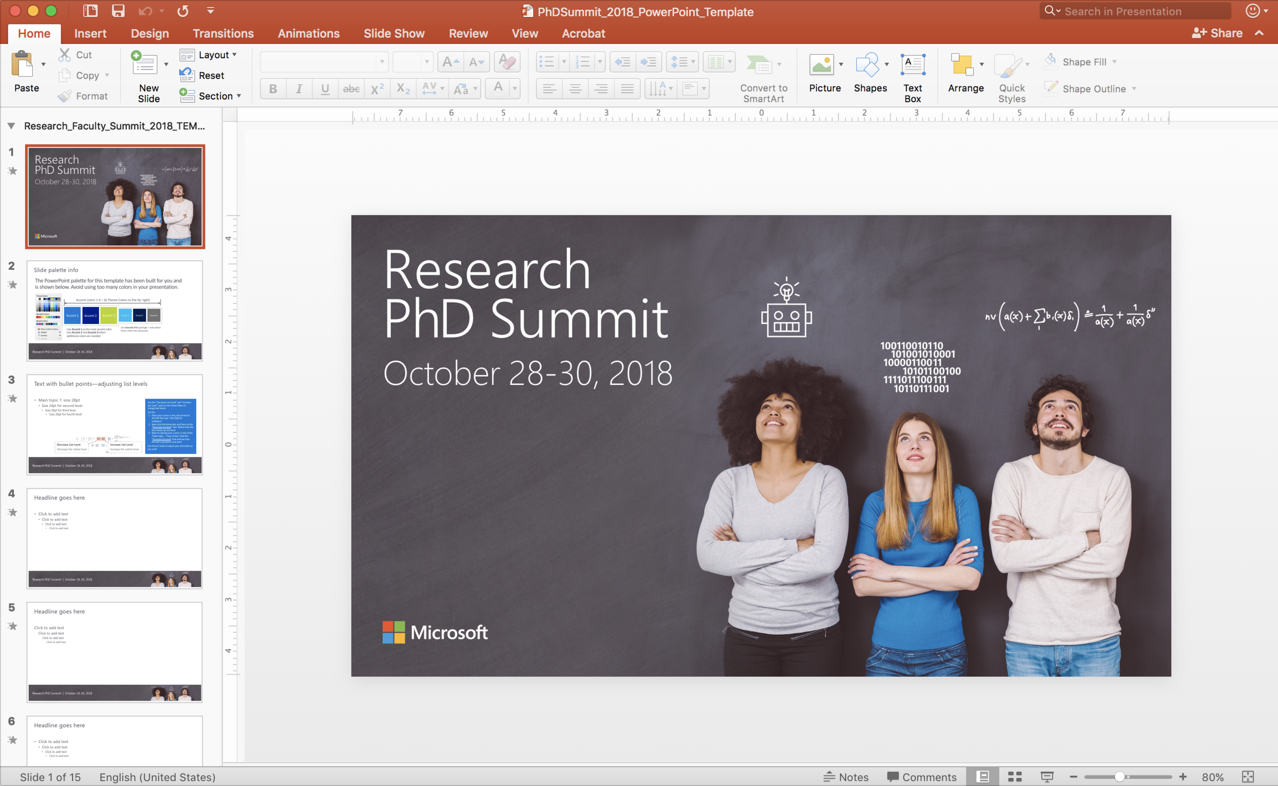 2018 PhD Summit PowerPoint brand guidelines template.