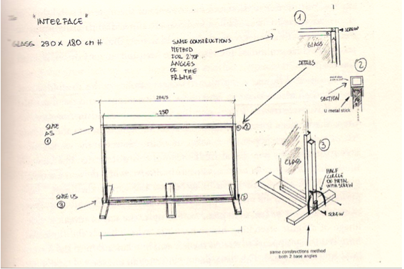 "Fig 10.Drawing of Peter Campus's Interface, 72. Designer Antonio Trimani's sketch of the glass frame constructed for terface the exhibition ""Zero Visibility"", Genezzano, Italy, 2001.  Courtesy of Locks Gallery, Philadelphia, Pennsylvania."