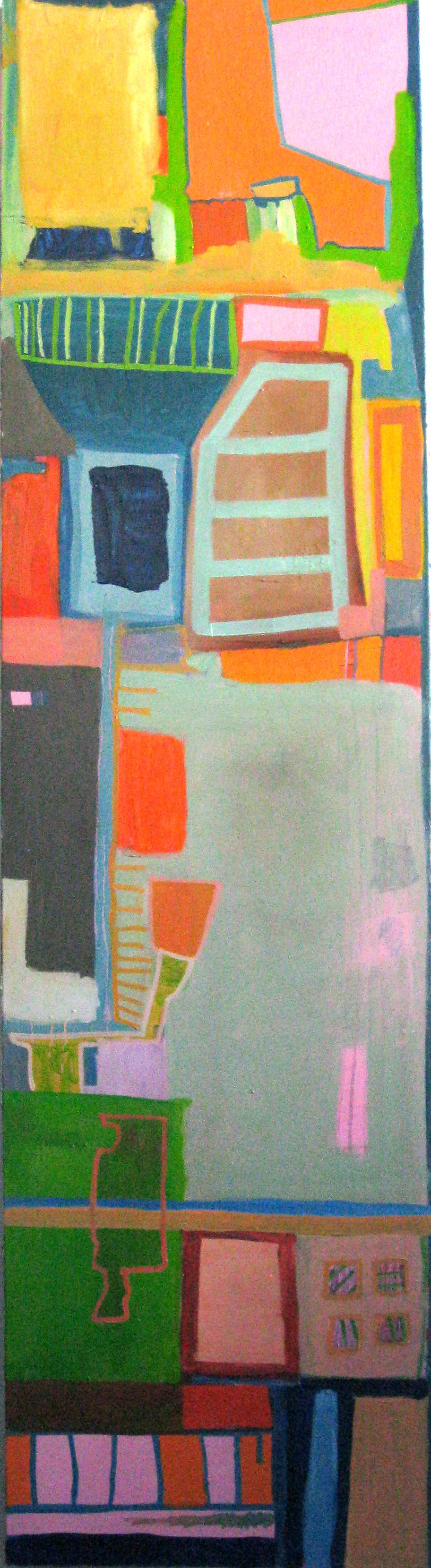 "The House on Mango Street.   Oil on Panel   17"" x 64""  2013"