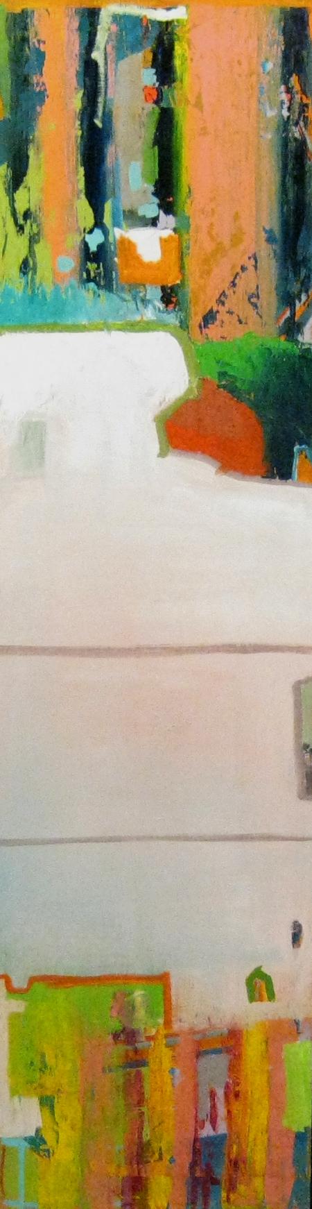 """Stokstad's New Fashion Illustration.   Oil on Panel  17"""" x 64""""  2012"""