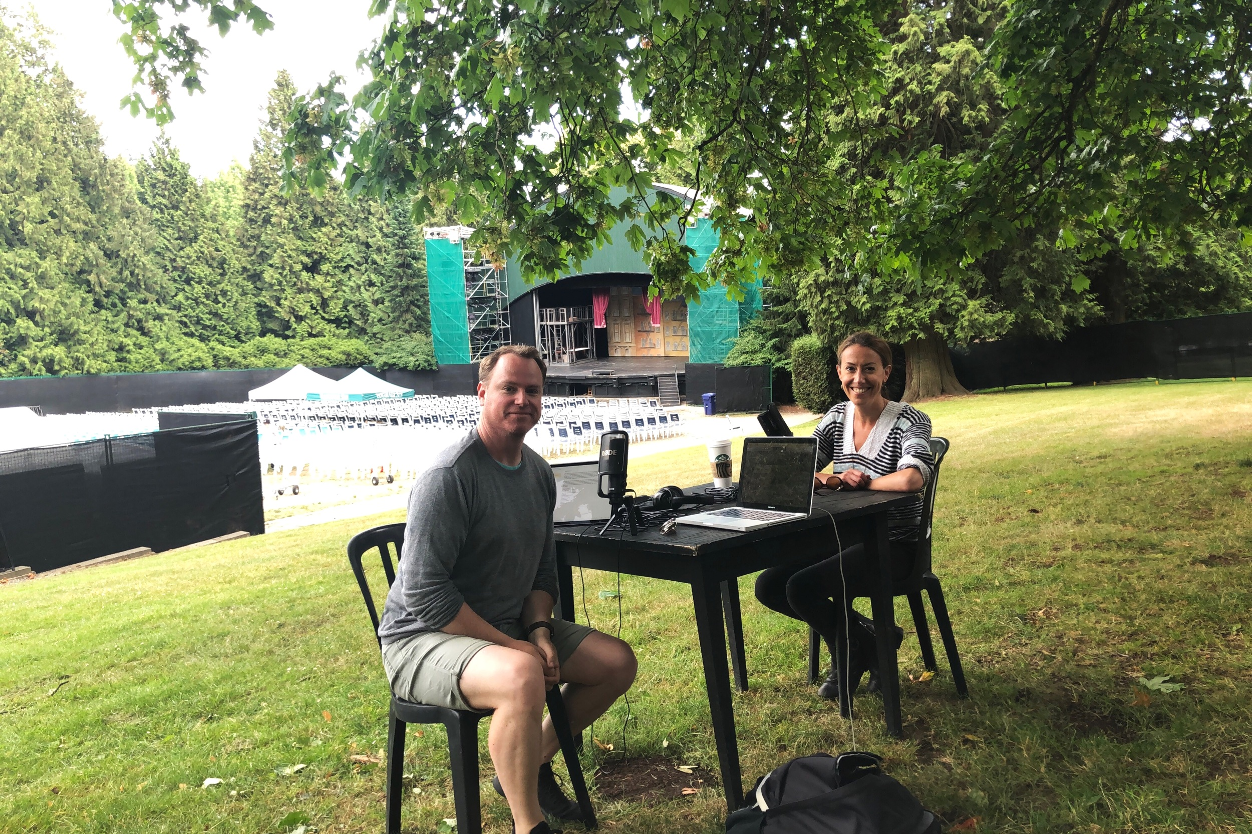 Julie Tomaino & Host Christopher King - On location at Theatre Under the Stars - Malkin Bowl, Stanley Park.