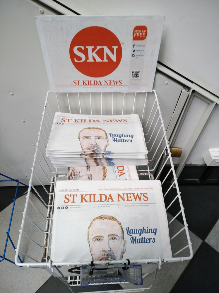 Newspaper distribution point. You can see how the illustration sits with the fold.