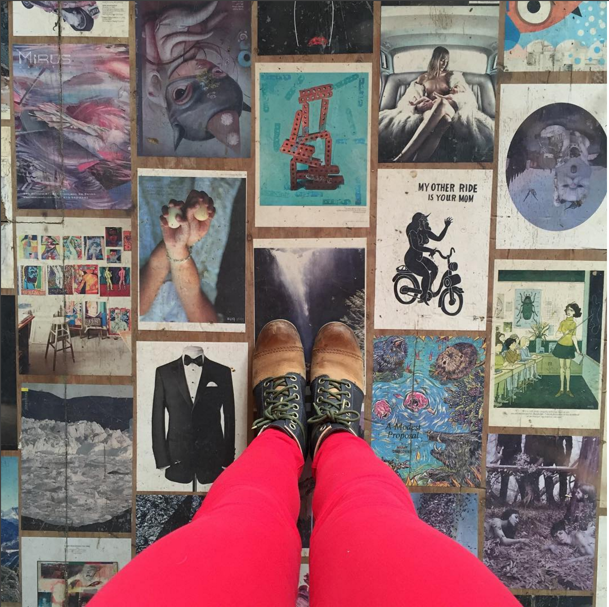 red trouser and magazine floor kind of day