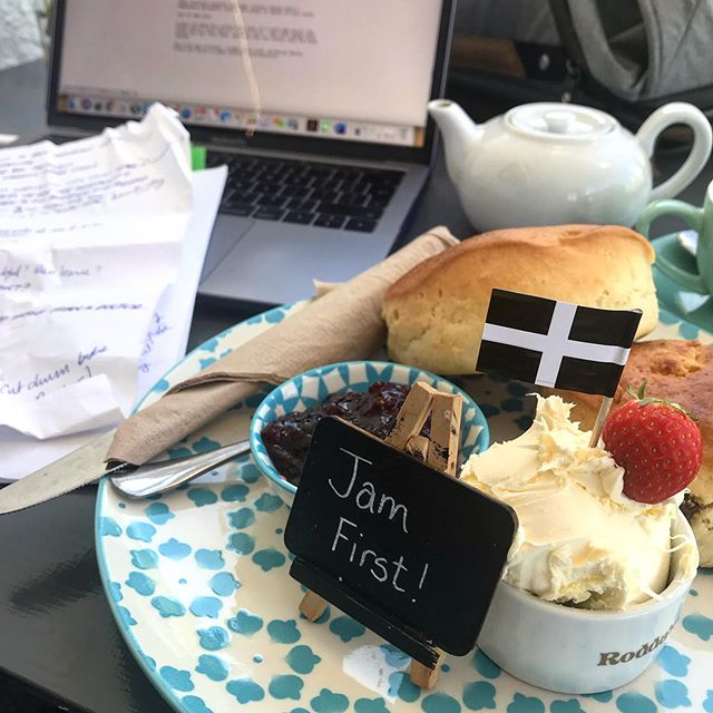 A perfect script writing, scone eating kind of Cornish morning 😀📝 #writersofinstagram #amwriting #screenplay #cornwall #cornwalllife