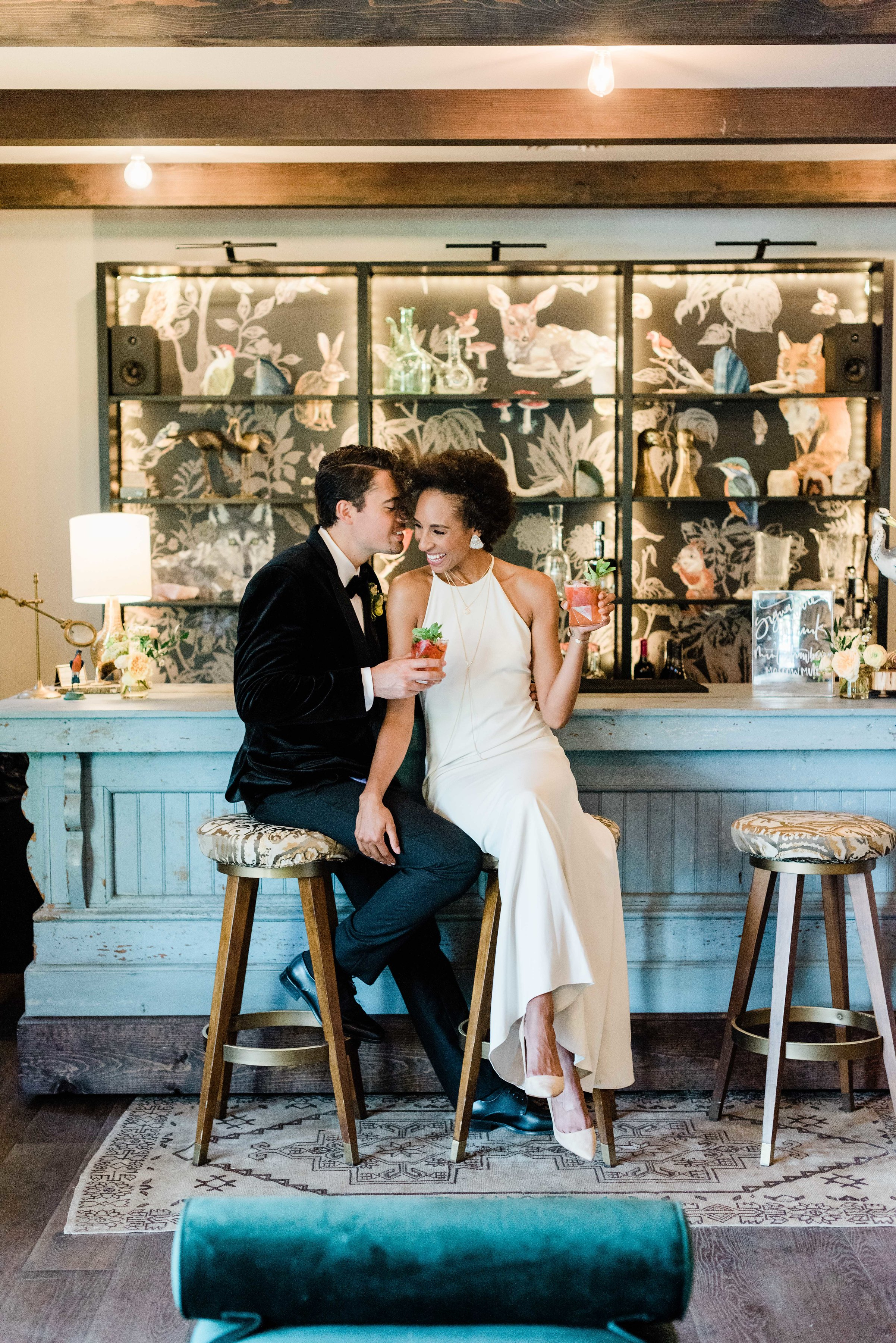 Wedding Couple in The Bar having Cocktails