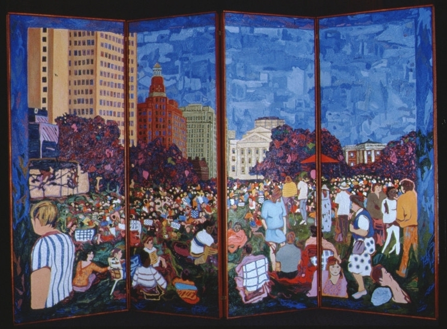 Concert On The Green  - 4 panel folding screen     52 x 80 inches