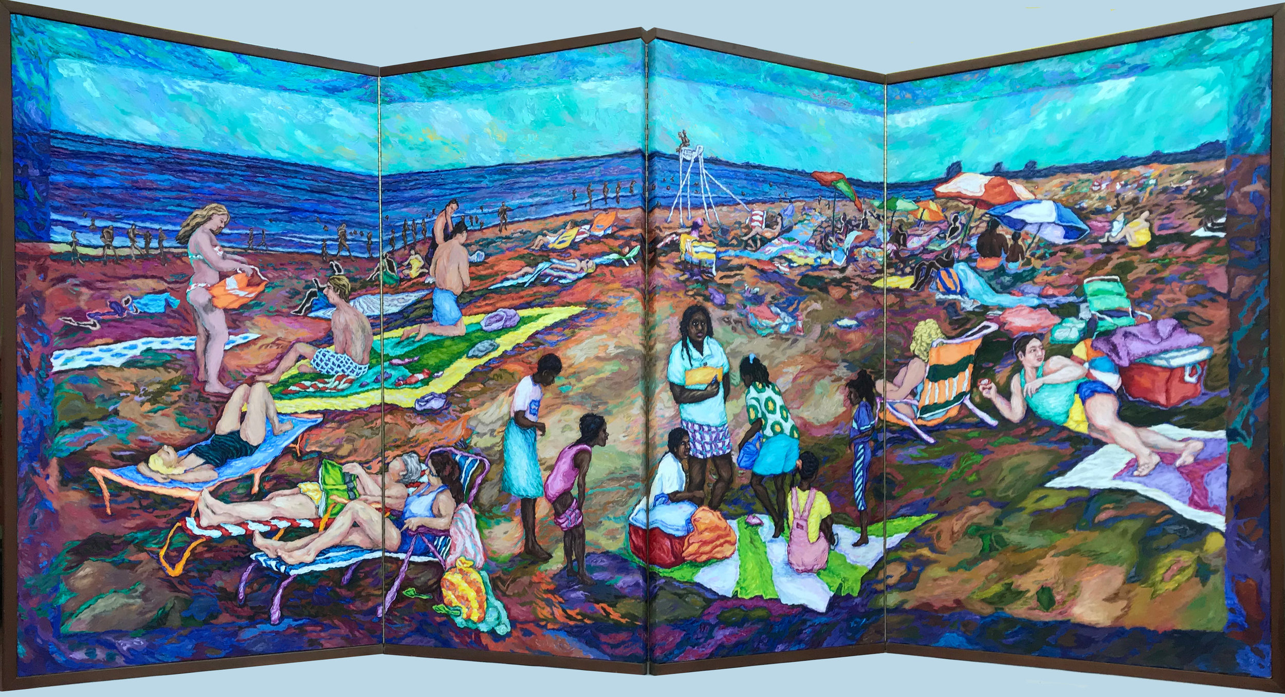 At the Shore: pilgrimage and right of passage     - 4 panel folding screen    62 x 120 inches when folded          Snapshots theme