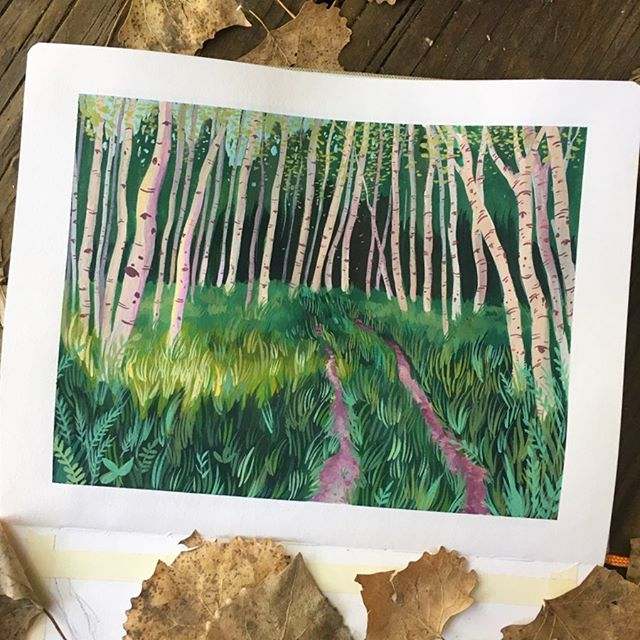 ✨aspen trail✨ trying to teach myself how to paint grass. it's difficult showing different layers and shadows (if that makes sense) and i'm still working on showing depth. need to do some more scenes like this! inspired by a walk i took when we went camping a few weeks ago. why did i never paint illustrative landscapes before?! i took a landscape painting class in college, but it was more traditionally driven, and i never thought to express my illustrative style in it. it was also in oil paint so that definitely made a difference, but it set a nice foundation! really excited to get started on the next one tonight😊turning a special spot by my house that's overrun by man made objects into a even more special and natural spot🌿🌾 still lots of learning to do, but this is a nice break from my usual stuff. ✨ ✨ speaking of usual stuff, i'll get back to my birds soon, but i'm really enjoying this change of pace so i'm just going with it cause it makes me happy😊also i'm in a rut with the last painting and trying to find a solution to the background. : : : #gouache #gouachepainting #painting #artwork #plants #plantlover #landscape #pleinair #pleinair #naturebrilliance #gouacheart #botanical #artist #sketchbook #sketchbooks #artjournal #aspen #colorado #denver #denverart #denverartist #coloradoart #coloradoartist #sketchoftheday #watercolor
