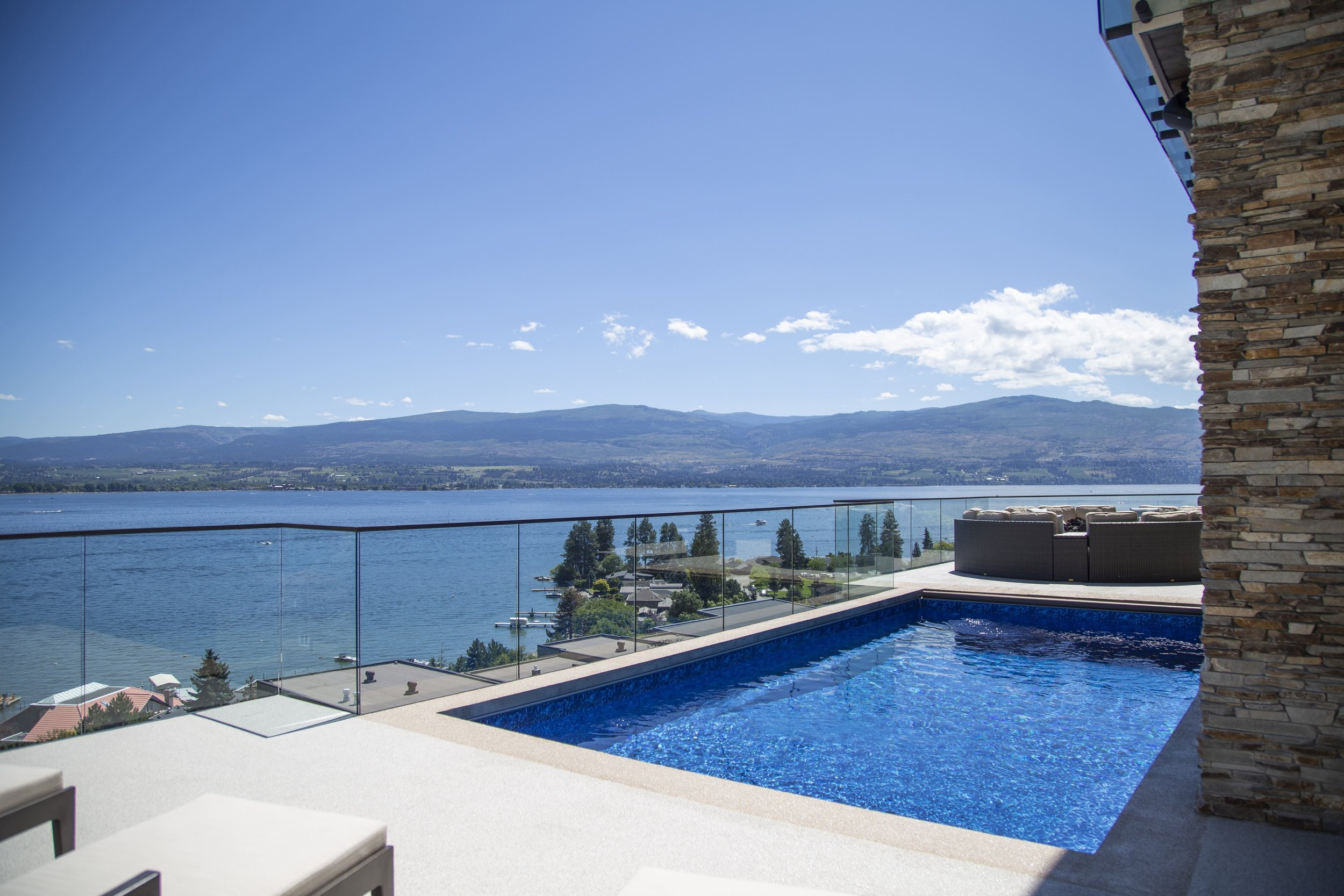 View of the Okanagan Lake from the pool.