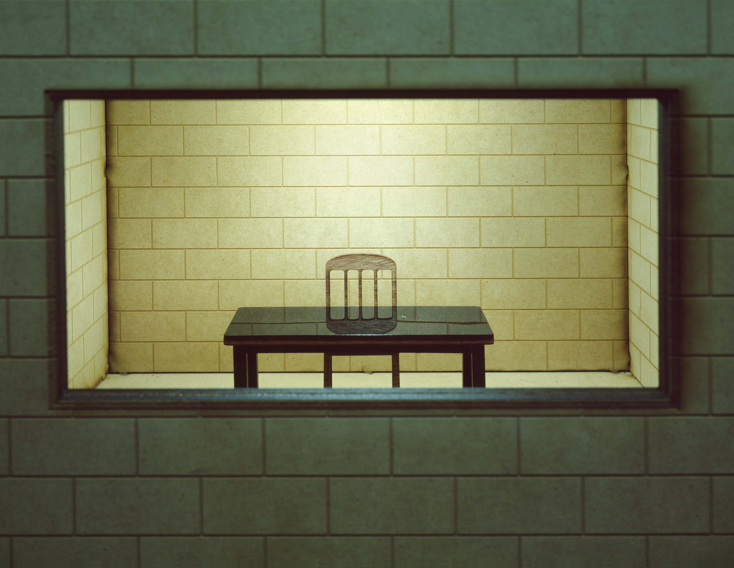 """""""Interrogation Room (miniature)"""" , 2014 Archival pigment print, 16""""x20""""  Courtesy Yoav Friedlander & Carrie Able Gallery"""