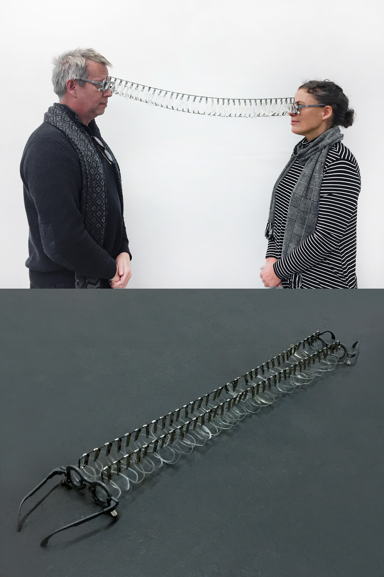 """Ophthalmodynia — Too near to be nears"" , 2018  Discarded lenses, eyesight test glasses, steel rods, alligator clips, 3.5"" x 5.5"" x 37""  Courtesy Hyunjung Rhee & Carrie Able Gallery"