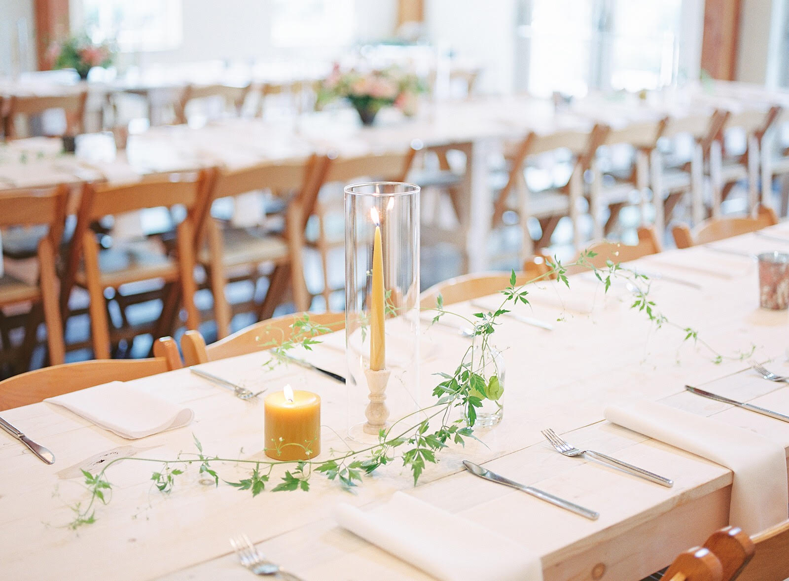 These beautiful tables needed little more than warm candlelight and rambling love-in-a-puff. Photo by Kylie Bricker.