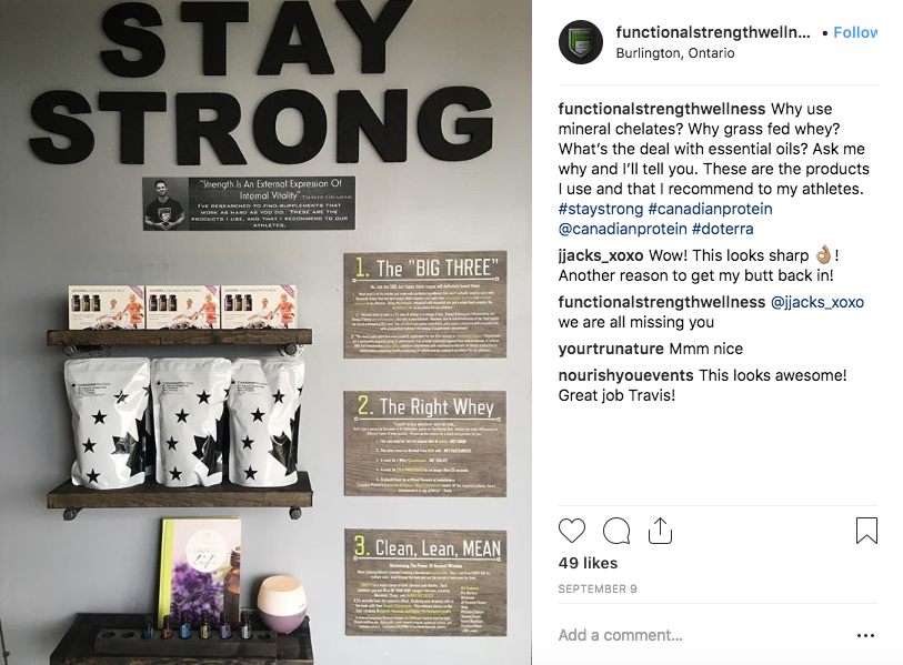 Here is on example of a display for Gym Owner and Personal Trainer Travis Graham of Functional Strength Wellness in Burlington Ontario. Follow him on  Instagram