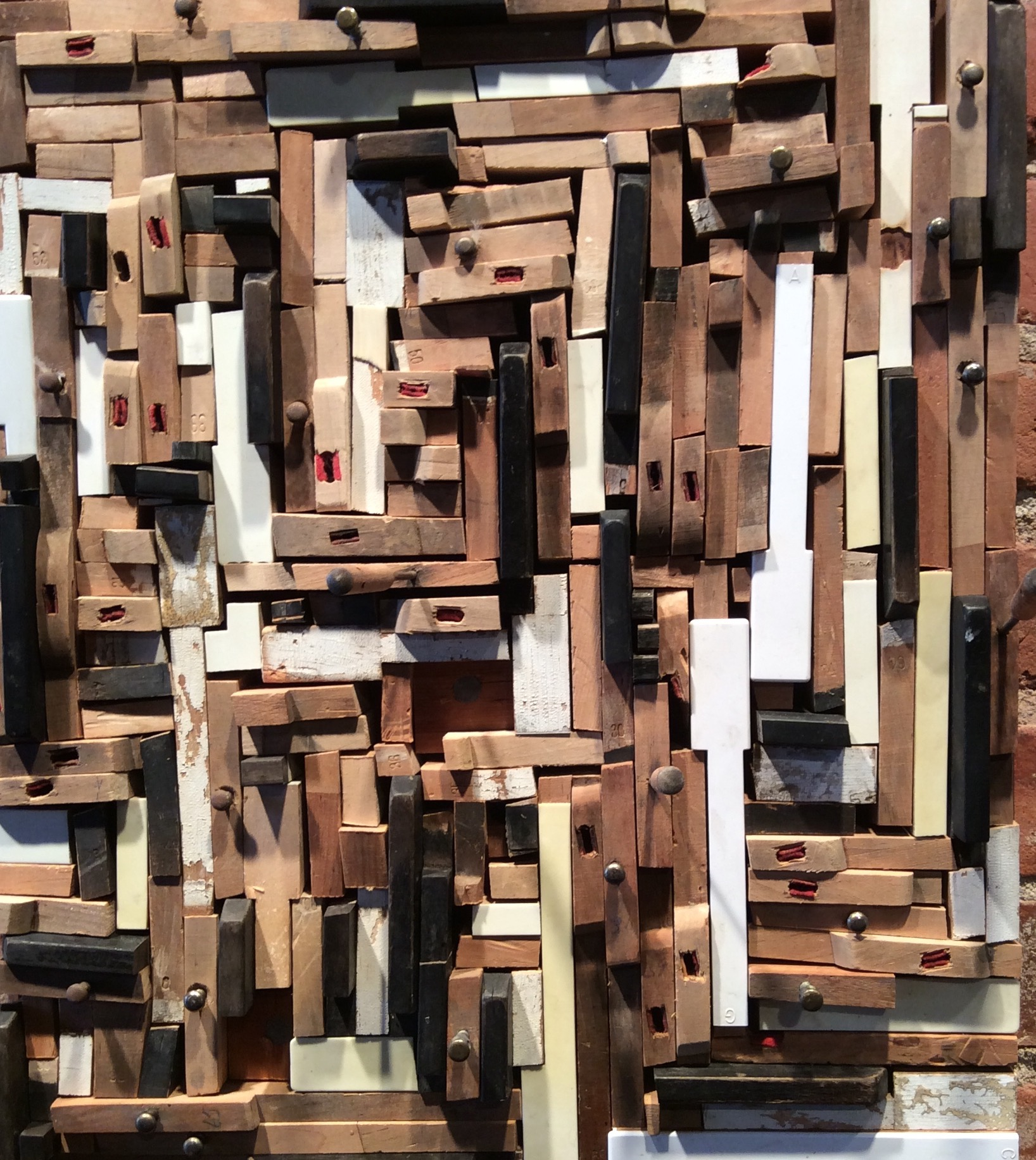 How to Deconstruct a Big Noise 2015, Found & altered piano keys, wood stain, birch face plywood, hemlock, hardware.  Collection of Lisa Nappa & Roger Ralston.