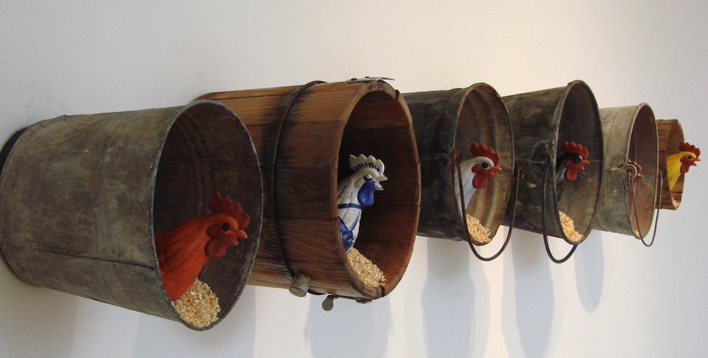 Nesting Wall, found objects,ceramics, chicken scratch & hardware. all pieces sold to private collectors in L.A., Spokane, Seattle, Nine Mile Falls. 2008
