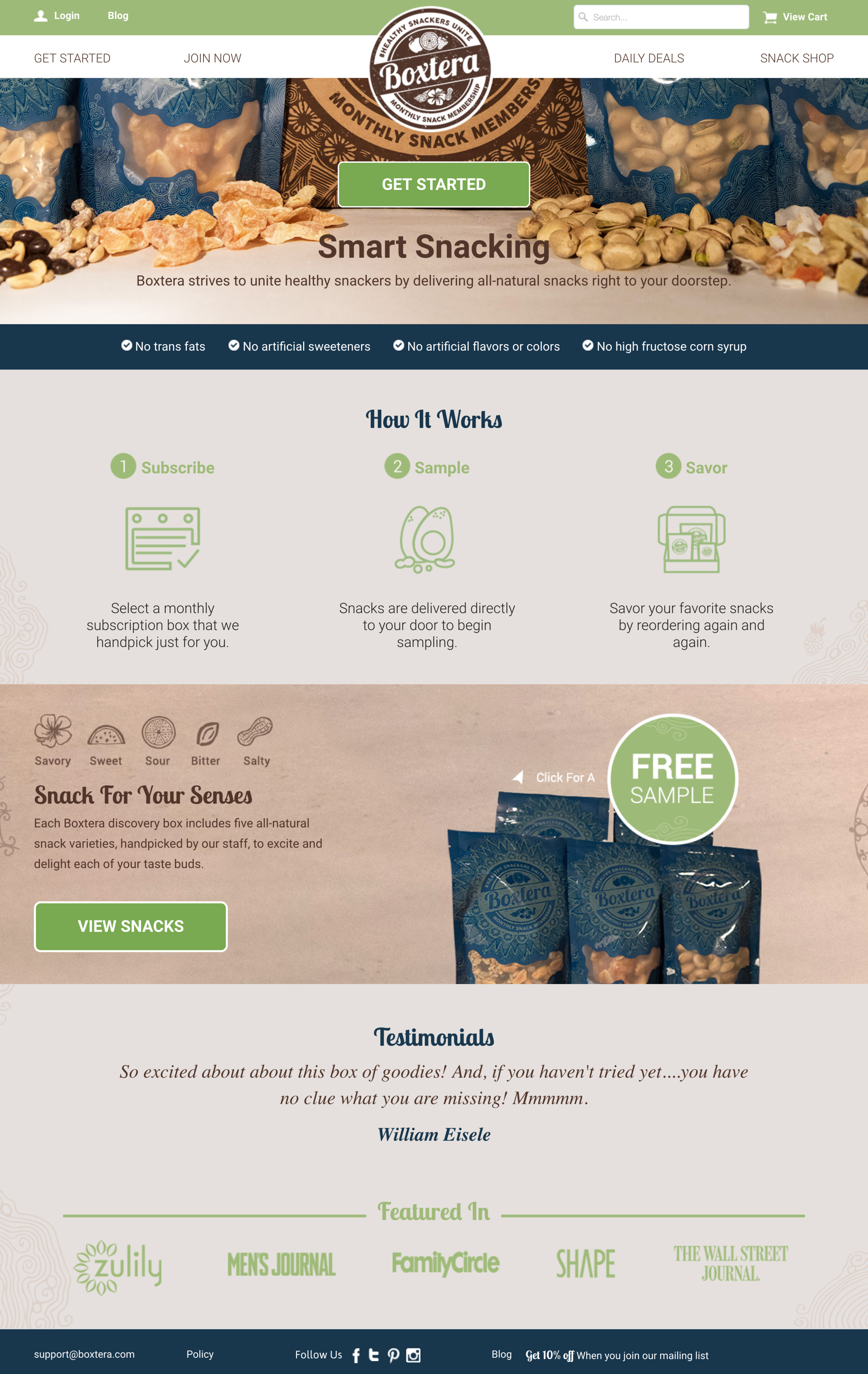Boxtera, monthly snack subscription membership, and a client of Sustain. I rewrote their website content and worked on branding.