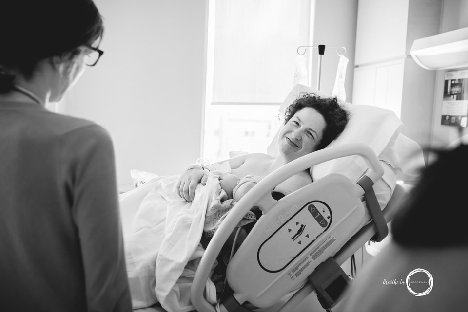 Montfort Birthing Centre Mom holding her newborn daughter skin to skin