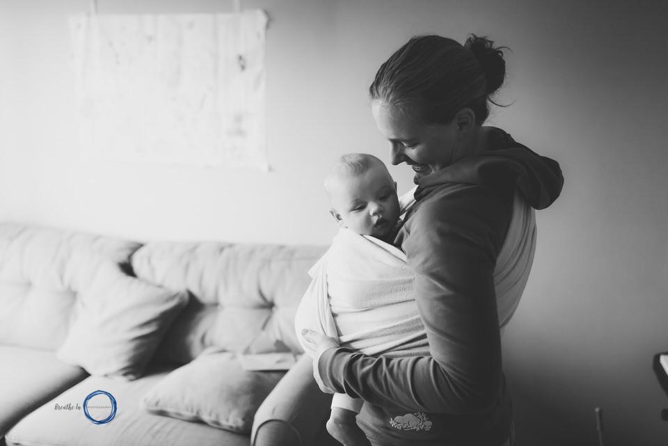 Babywearing self-protrait in Ottawa Mom and baby in Didymos Wrap.