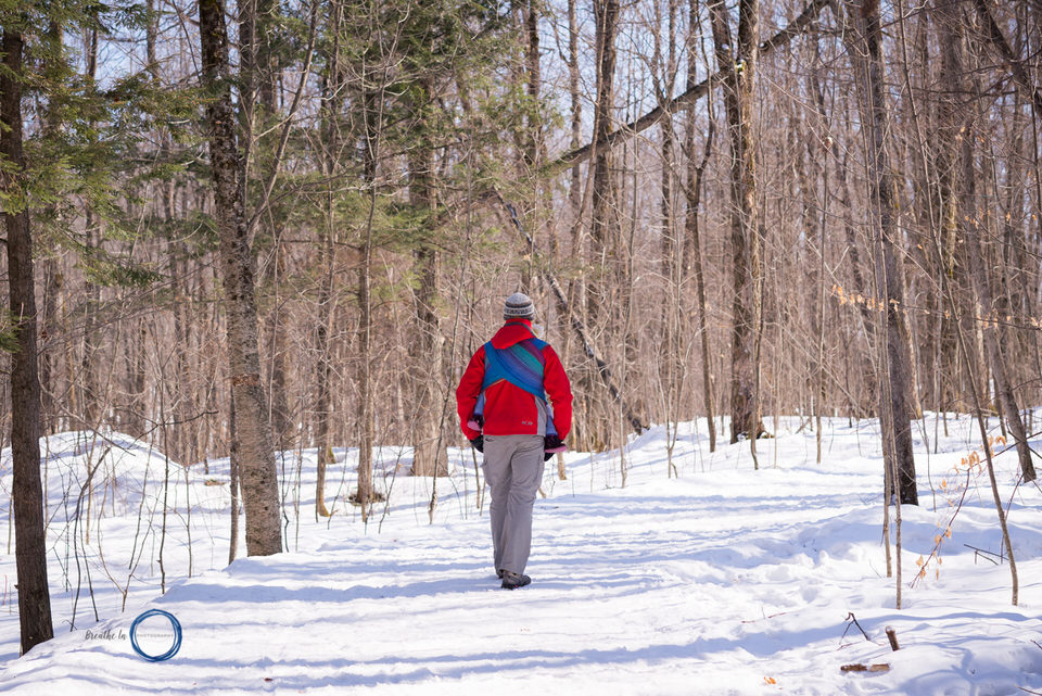 Dad and daughter walking in Gatineau Park on a sunny day in handwoven wrap.